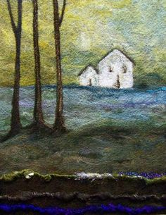 Needle felted white barn