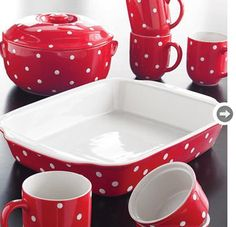 Bakeware  Perk up the kitchen with red and white polka dot baking dish. Sears, $12.99-$59.99.