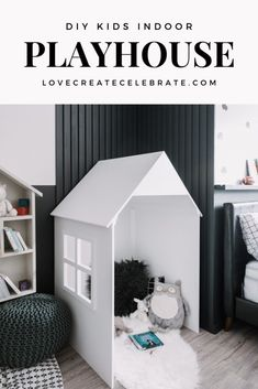indoor playhouse Build this DIY Kids Indoor Playhouse in no time! This simple, modern playhouse is perfect for the bedroom, playroom, basement The post DIY Kids Indoor Playhouse appeared first on Love Create Celebrate. Modern Playhouse, Kids Indoor Playhouse, Diy Playhouse, Playhouse Furniture, Playroom Furniture, Kids Furniture, Playroom Table, Playroom Storage, Playroom Ideas