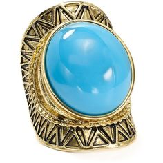 Aqua Cabria Etched Ring featuring polyvore women's fashion jewelry rings turquoise etched ring bohemian style jewelry bohemian jewellery cabochon jewelry boho chic jewelry
