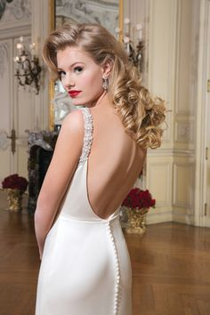 Style 8756 Luxe charmeuse mermaid dress accentuated by a cowl neckline @jabridals