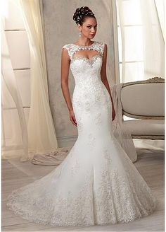 Stunning Tulle Sweetheart Neckline Natural Waistline Mermaid Wedding Dress