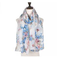 Vintage  Floral Long Scarf Pashmina Wrap White Cobolt Blue Pink SS17  #Intrigue #Scarf