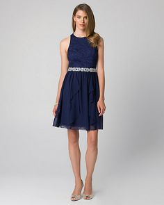 Lace & Chiffon Halter Cocktail Dress - A lace bodice trimmed with shimmering jewels is complemented by a chiffon corkscrew ruffle skirt.