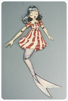 Articulated Mermaid Paper Doll handmade by the Filigree - Red White blue Stripe Mermaid Cove, Mermaid Fairy, Mermaid Dolls, Fantasy Mermaids, Mermaids And Mermen, Paper Dolls, Art Dolls, Weird Sea Creatures, The Royal Tenenbaums
