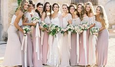 Mismatched Bridesmaid Dresses – Colour Blend (Choose a colour and coordinate your bridesmaid's style using the same family of colours. Work with lighter or darker shades of the same colour to complement individual hair colour, complexion and skin tone.)
