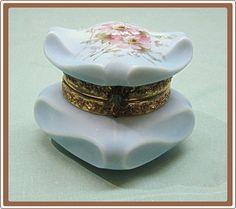 C F Monroe Wave Crest Bishops Hat Glass Box