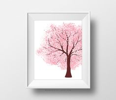 SALE -  Cherry Blossom, Polka Dots, Pink Art Decor, Baby Girl Nursery, Pink Poster, Tree Nature, Tree Branch, Seasonal Color, Girl Room