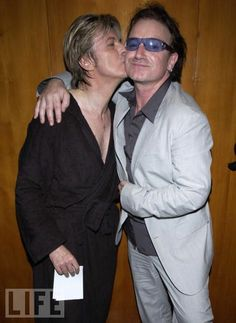 David Bowie and Bono (U2) during David Bowie performs at the Meltdown Festival that was curated by David Bowie at Royal Festial Hall in London, United Kingdom.