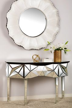 "$599 Kim Konsole Table by Statements by J on @HauteLook   This show stopping piece will enhance your decor. - Wood and glass construction - 32"" H x 18"" W x 49"" L - Imported"
