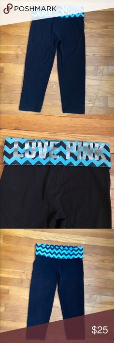 VS pink yoga pants with blue waistband Gently used Victoria secret pink yoga pants crap style they go a little below the knee PINK Victoria's Secret Pants Leggings
