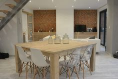 Table carrée Pays Bois 160 cm. Dining Room, Dining Table, Living Room Designs, Modern Design, Tables, Wood, Kitchen, Furniture, Decoration
