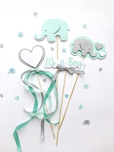 Mint Gray Elephant Centerpieces Boy Baby Shower Centerpieces Its a Boy Centerpieces Elephant First Birthday Table Decoration Elephant Theme -- Looking for Baby Shower or Baby Boy First Birthday table decorations?! Cute mint gray Elephant Centerpieces makes your party adorable.