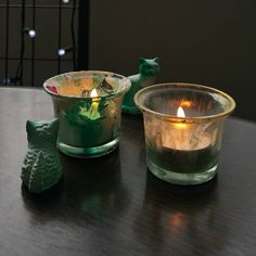 """PaintersHouse votives in Holidays Colorways. As designers and sponsors supply our paints, little lovely knicknacks like these emerge from our studio to neighborhoodstyleguide specification. (the materials that surround us in community are thoughtfully considered-coordinated innovation """"magically"""" happens by design)"""