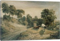 Kneeton-on-the-Hill, c.1815-16 by Peter de Wint Canvas Art - that's my house by the church!
