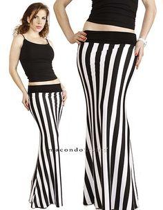 Striped Fold Over Waist Banded Casual Jersey Knit Stylish Maxi Long Skirt Dress