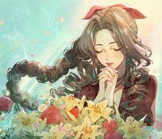 Aerith [art by : FinalFantasy Final Fantasy Cloud, Final Fantasy Artwork, Final Fantasy Characters, Final Fantasy Vii Remake, Fantasy Series, Anime Characters, Arte Cyberpunk, Arte Sketchbook, Cg Artwork