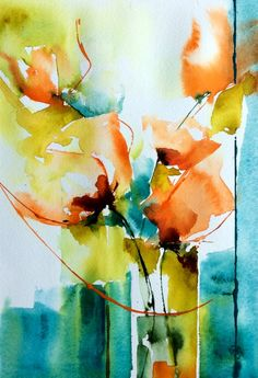 Mousseline (Painting),  20x30 cm par Véronique Piaser-Moyen Aquarelle originale sur papier 300 G Watercolor Landscape, Abstract Watercolor, Watercolor And Ink, Watercolor Illustration, Watercolor Flowers, Watercolor Paintings, Watercolours, Arte Floral, Abstract Flowers