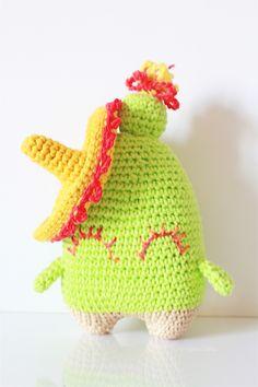 Amigurumi cactus en sombrero gehaakte