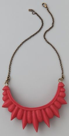 Yay Pamela Love was a runner up winner on The Vogue Fashion Fund show her jewelry is amazing and she's so cool check out this red resin spike necklace