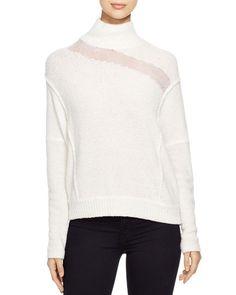 Elie Tahari Della Sheer Inset Sweater