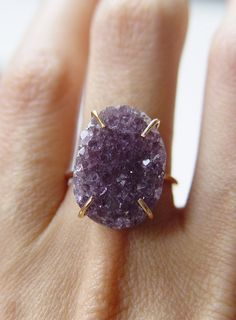 Amethyst Crystal Druzy Ring by friedasophie on Etsy