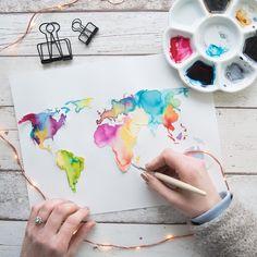 Aquarell Weltkarte DIY Watercolor worldmap