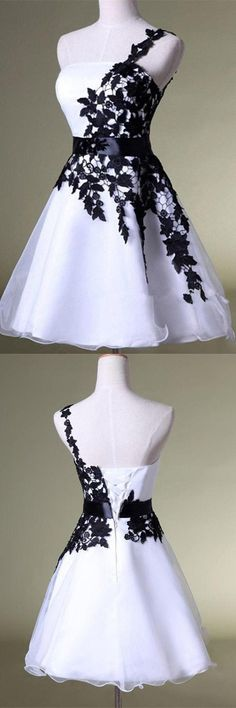 White&Black One Shoulder Homecoming Dress Lace Short Prom Dress Puffy Skirt Party Dress