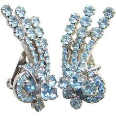 Juliana Light Sapphire Blue Rhinestone Climber Clip Earrings Wire Over Tier DeLizza Elster