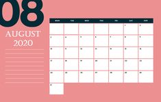 August 2020 Calendar: Get the Cute August 2020 Calendar Printable Template Colorful Design, August 2020 Desk and Wall Calendar, August 2020 Calendar Wallpaper August Calendar, Holiday Calendar, Photo Calendar, Blank Calendar, Calendar Pages, Desk Calendars, Monthly Calendars, Calendar 2020, Printable Calendar Template