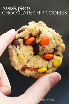 These soft and chewy Reese's Pieces Chocolate Chip Cookies are a peanut butter and chocolate lover's dream. A traditional chocolate chip cookie base is overloaded with chocolate and candy to create a cookie you won't soon forget. Baking Recipes, Cookie Recipes, Dessert Recipes, Bar Recipes, Cookie Ideas, Cookbook Recipes, Dessert Ideas, Yummy Recipes, Deserts