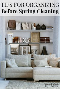 Tips for Organizing Your Home for Spring Cleaning. DIY guide to organizing your living space before spring cleaning your house. This idea allows you to tackle your living area in stages. Includes a printable home organization checklist. Declutter Your Home, Organizing Your Home, Organizing Tips, Organising, Deep Cleaning Tips, Cleaning Hacks, Cleaning Checklist, Home Management, Home Organization Hacks