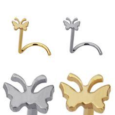 Piercing de nariz en ángulo con diseño de Mariposa