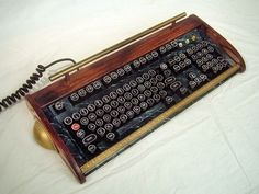 Antique looking IBM Clicky Keyboard-Victorian by woodguy32 on Etsy Steampunk Design, Victorian Steampunk, Gaming Lounge, Steampunk Gadgets, Oak Trim, Mechanical Art, Antique Desk, Marble Effect, Brass Handles