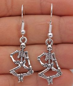 925 Silver Plated Hook -1.7'' Vintage Bone Skull Women Punk Earrings Gifts #01 #Unbranded #Casual