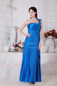 Satin Shoulder One Ankle-length Blue Side Zipper Sleeveless Natural Royal Classic/Timeless Sheath/Column Woven Elastic Ruched Prom Dress