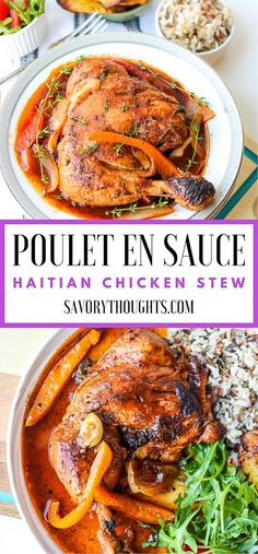 Want to learn how to make Poulet En Sauce (Authentic Haitian Chicken Stew)? This poule en sauce recipe is rich and is full of amazing flavors. Haitian Food Recipes, Real Food Recipes, Healthy Recipes, Stew Chicken Recipe, Best Chicken Recipes, Pollo Guisado, Caribbean Recipes, Carribean Food, Baked Chicken