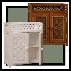 Wicker Medicine Cabinet & Wicker Wall Shelf via @wickerparadise #medicine #wicker #walls #bathroom www.wickerparadise.com