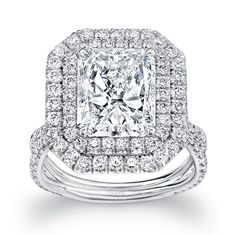 """Uneek Fine Jewelry 4-Carat Radiant-Cut Diamond Engagement Ring with Dreamy Double Halo and Pave """"Silhouette"""" Double Shank, in Platinum. Handcrafted in Los Angeles, CA 