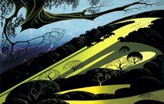 """Gaviota Pass"" Art by Earle Eyvind Disney artist Landscape Art, Landscape Paintings, Landscapes, New York City, Studio Disney, Eyvind Earle, Phoenix Art Museum, West Art, Digital Museum"