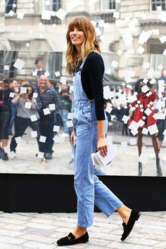 Street Style: Veronika Heilbrunner   Overalls + Loafers In London (via Bloglovin.com )