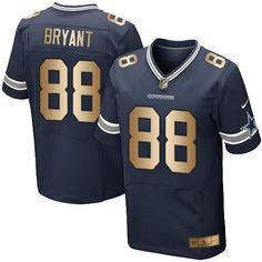 7657bb2ab ... Nike Cowboys 88 Dez Bryant Navy Blue Team Color Mens Stitched NFL Elite  Gold Jersey ...