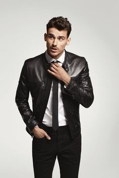 #EmbraceThePresent in a look perfect for a night out on the town- Men's leather moto jacket, Black L pant, and Black skinny tie #MensFashionNightOut