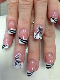 French Nails - French Nail Tip Ideas, French Nail Polish, French Tip Nail Designs Classy Nail Designs, French Nail Designs, Acrylic Nail Designs, Nail Art Designs, Acrylic Gel, Nails Design, Pedicure Designs, Flower Design Nails, Beautiful Nail Art