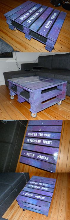 #galaxy #coffeetable #Dexter #DexterMorgan #Morgan #galaxycoffeetable #DIY #pallet #pallettable Homemade DIY pallettable, I made the classic 'galaxy theme' on my pallet-coffeetable and wrote a quote on, just to give it a little detail :D - I think it turned out totally amazing! Its easy and its cheap ;) - Used half-pallets ;)