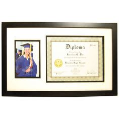 Black Diploma Frame with 2-Openings