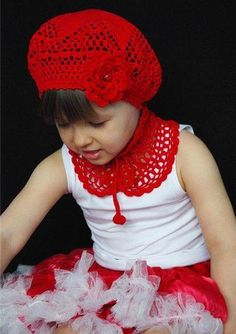 Red Hat with Flower and Matching Choker free crochet graph pattern