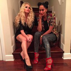 Photo: @traceeellisross/Instagram Can you see the resemblance?  On Saturday, Tracee Ellis Ross posted a photo to Instagram of herself posing with Jessica Simpson on a staircase. Tracee's younger brother Evan Ross recently married — and had a daughter, named Jagger Snow Ross — with Jessica's little sister: