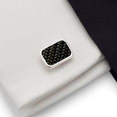 Spinki do mankietów z włóknem węglowym ( Carbon )  | srebro 925 | ZD.44