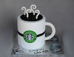 Starbucks For A New Police Officer  Starbucks For A New Police Officer bc base icing, fondant handle, steam and logo. Toy badge and cuffs. TFL